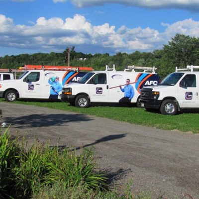 A lineup of branded vans provides instant recognition for AFC