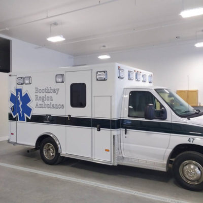 Reflective Lettering and Star of Life on this ambulance for Boothbay.