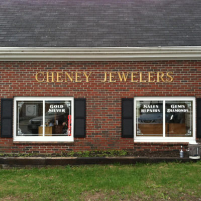 Dimensional letters and window lettering for Cheney Jewelers in Winthrop