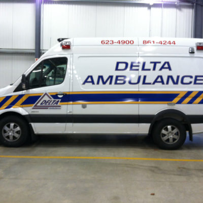 All reflective lettering and striping for Delta Ambulance provides cohesive branding and good visibility at night