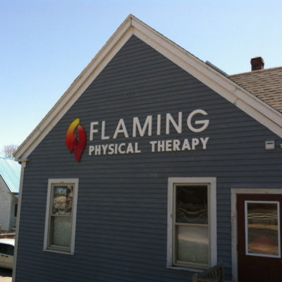 Large dimensional lettering on this office for Flaming Physical Therapy help it stand out on Route 1 in Bath