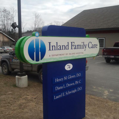 Multi-layered sign for Inland Hospital in Oakland.