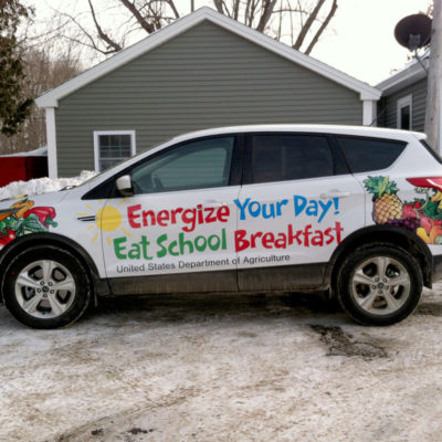 Wrap for the Maine Dept of Education promoting its school breakfast program